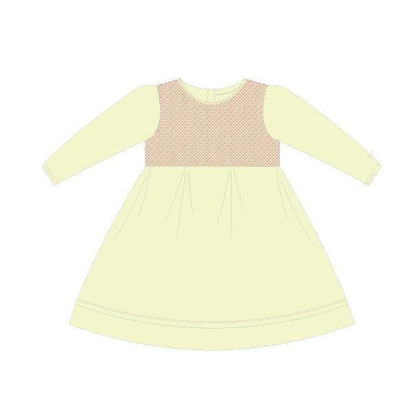 Korango Natural Class Full Smocked Twill Dress - Ivory (Size NB-2Y)
