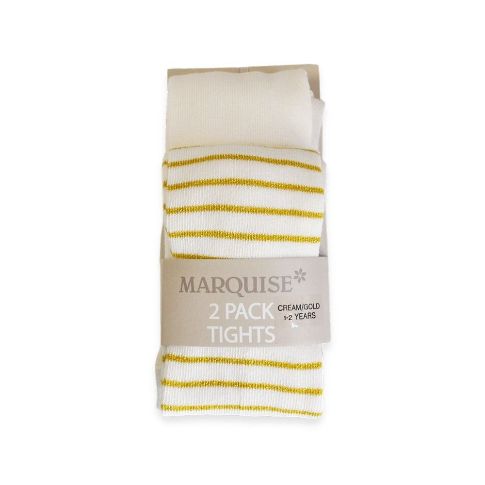Marquise 2 Pack Knitted Tights- Cream & Gold Stripe - Sweet Thing Baby & Childrens Wear
