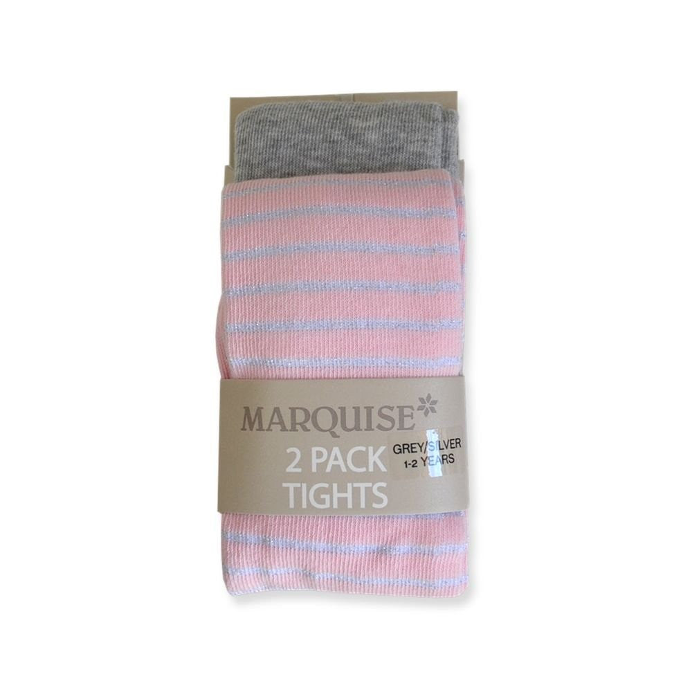 Marquise 2 Pack Knitted Tights- Silver & Pink Stripe - Sweet Thing Baby & Childrens Wear
