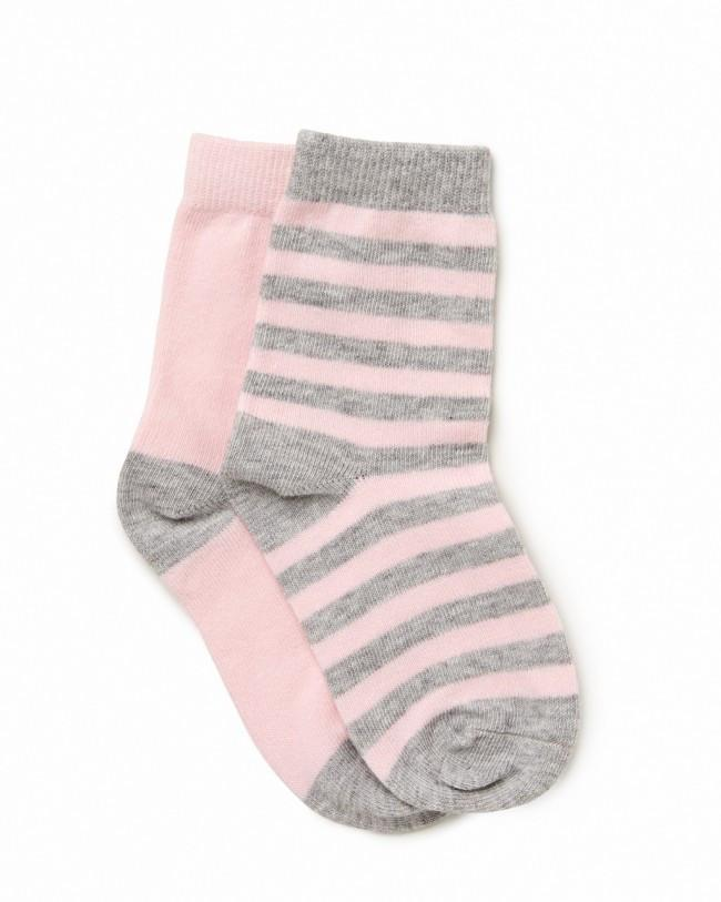 Marquise 2pk Knitted Socks- Pink/Pink & Grey Stripe - Sweet Thing Baby & Childrens Wear