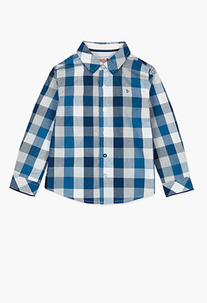 Boboli Check Shirt- Blue/White