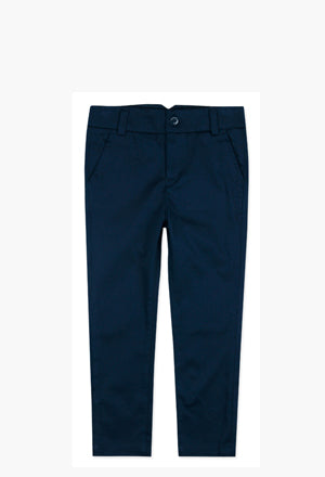 Boboli Boys Stretch Satin Trousers- Navy