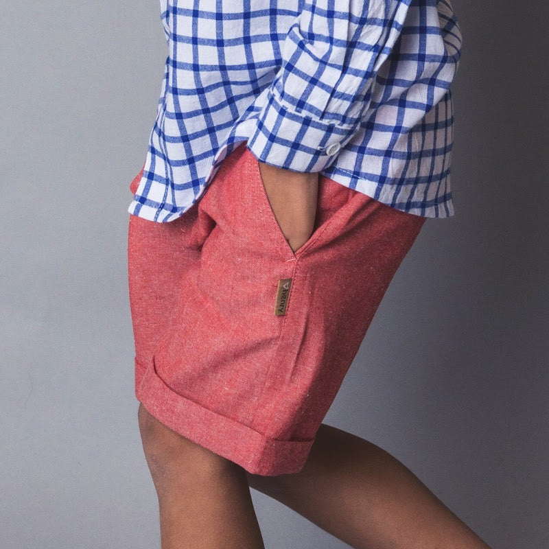 Love Henry Boys Turn-Up Shorts - Red Chambray