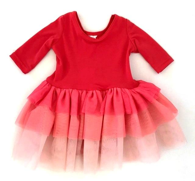POP- LolliPOP Tutu- Coral Ombre- 3/4 Sleeve