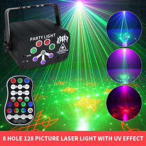 Rechargeable 8-hole mini laser light
