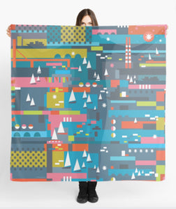 """Pigeon House Regatta"" Large Art Scarf"