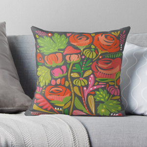 """PEONIES"" FAUX SUEDE ART CUSHION LIMITED EDITION"