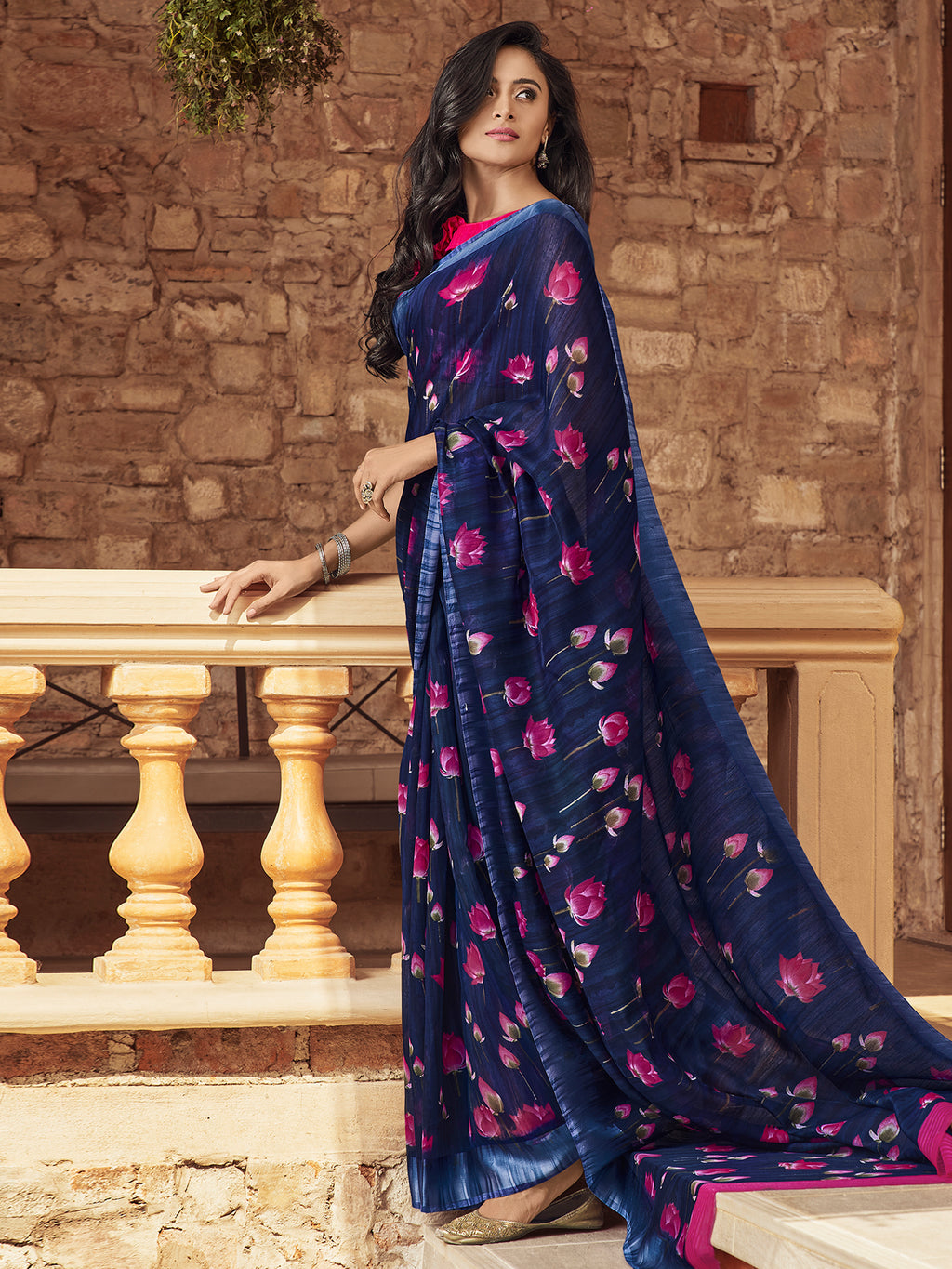 Linen Casual Floral printed sarees