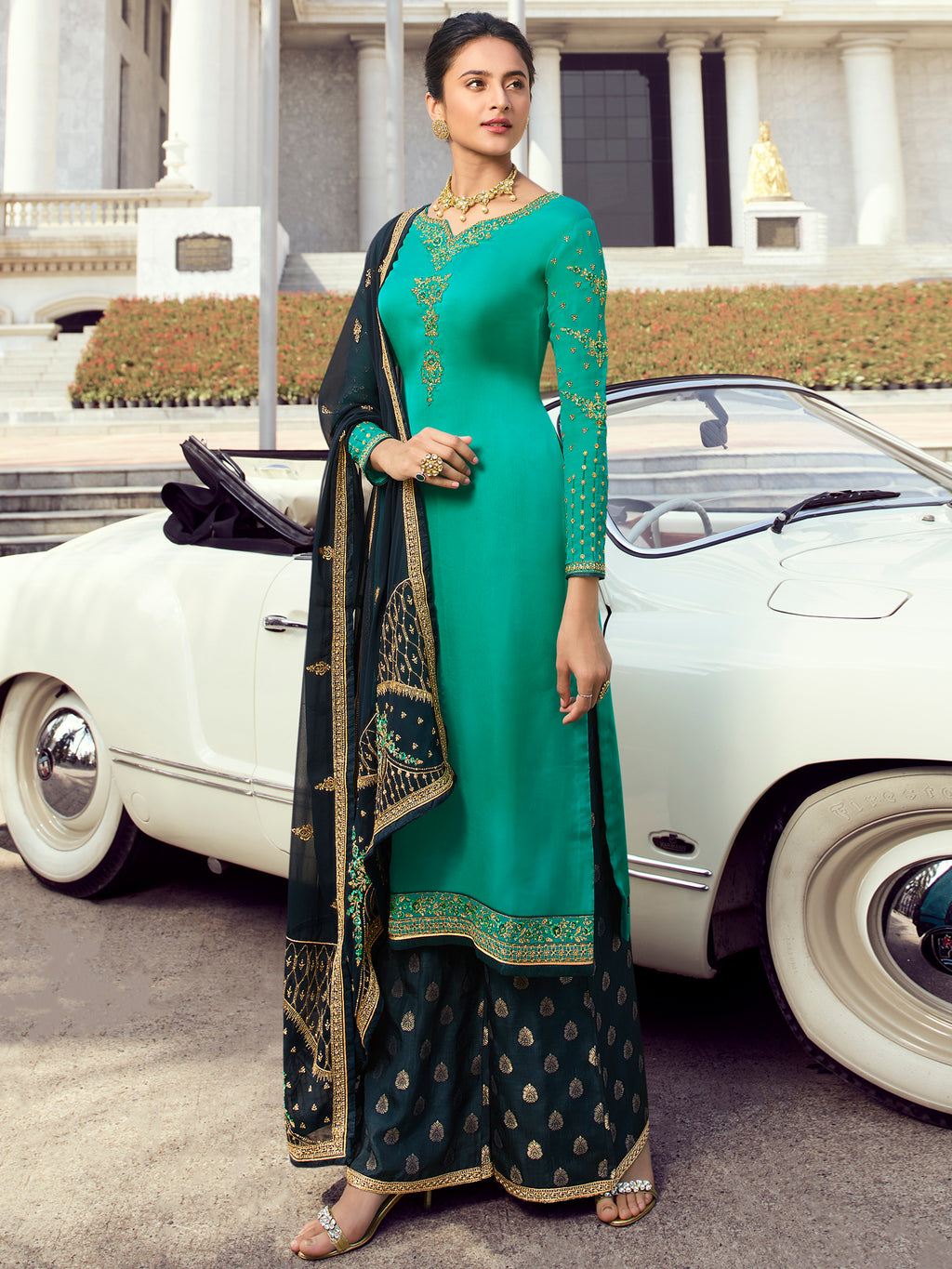 Embroidered Designer Palazoo suit and Lehenga