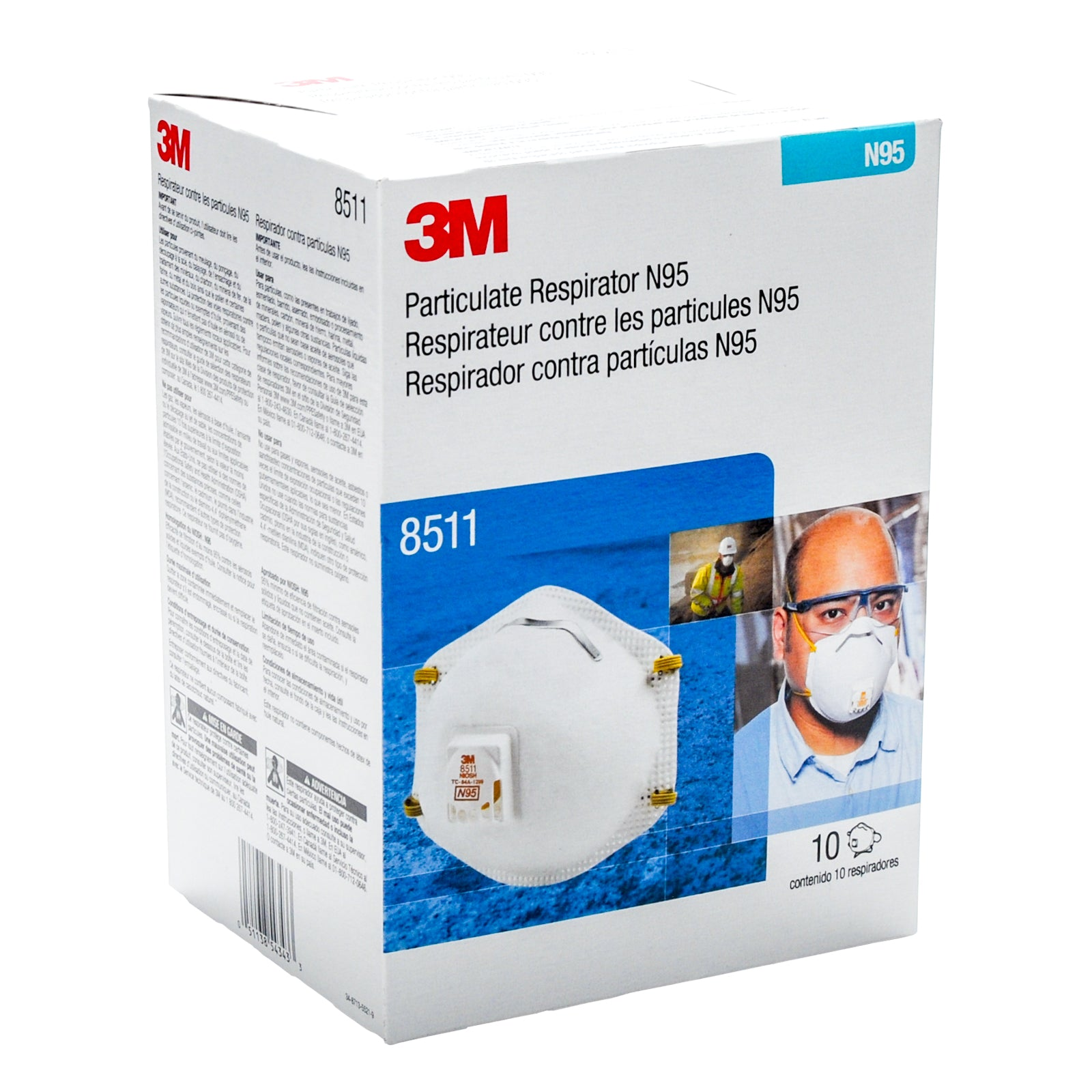 3M 8511 N95 Respirator Masks with Cool Flow Valve (10 Pack), NIOSH Approved