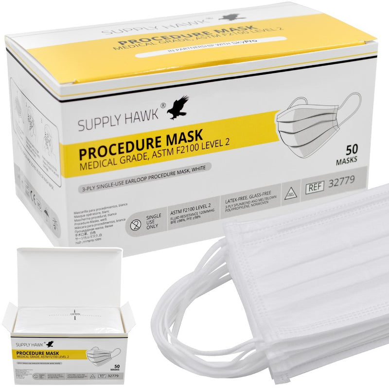 Medical-Grade ASTM Level 2 Procedure Masks, Box of 50