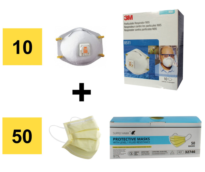 Presidential Pack - 3M 8511 Valve Respirators + ASTM Level 1 3-Ply Masks