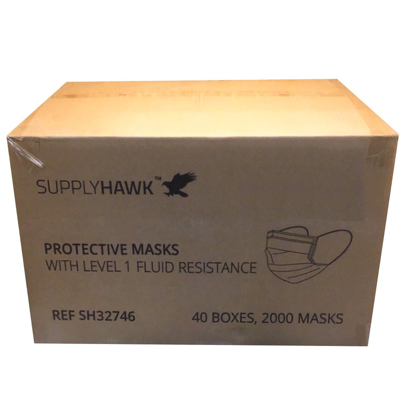 ASTM Level 1 Fluid Resistance 3-Ply Masks, Box of 50