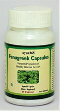 Load image into Gallery viewer, Ayur365 Fenugreek Capsules - Supports Healthy Glucose Levels, Improves Digestion & Reduce elevated Cholesterol levels 60 ct.