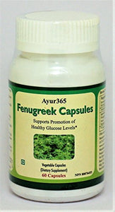 Ayur365 Fenugreek Capsules - Supports Healthy Glucose Levels, Improves Digestion & Reduce elevated Cholesterol levels 60 ct.