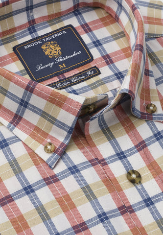 Camisa Tattersall de Algodón, Blue Rose Gold check