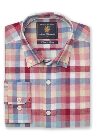 Camisa de Lino manga larga, Rose Navy Yellow Mint Mocca check