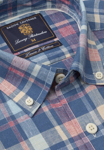 Camisa de Lino manga corta, Aqua Blue Rose Peach check Brook Taverner
