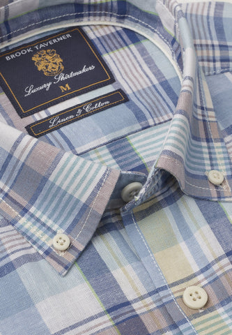 Camisa de Lino manga larga, Blue Peach Corn Mint check