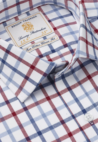 Camisa Tattersall de manga larga, 100% Algodón, Navy Blue and Red Check