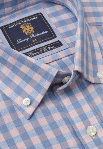Camisa de Lino manga corta, Blue and Rose Gingham