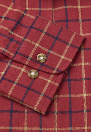 Camisa Manga Larga Tattersall 100% Algodón Berry with Moustard and Navy Check Brook Taverner