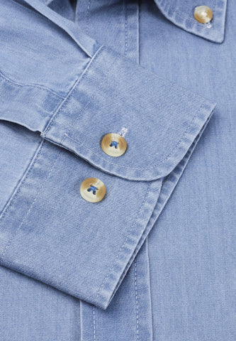 Camisa de Algodón, Denim Light Blue Chambray Brook Taverner