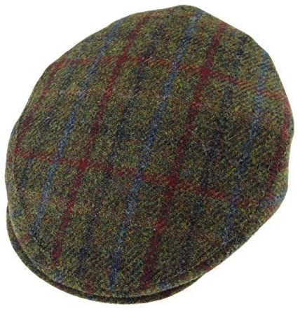 Gorro Harris Tweed County Cap Green Check Glen Appin
