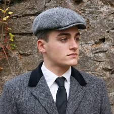 Gorro Harris Tweed Shelby Grey Herringbone Glen Appin
