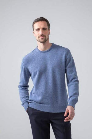 Sweater Round 100% lambswool blue mix Johnstons
