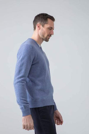 Sweater V 100% lambswool blue mix Johnstons