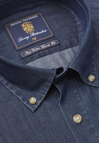 Camisa de Algodón, Denim Navy Chambray