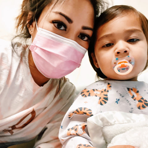 mom and baby toddler boy hospital gown mask pacifier