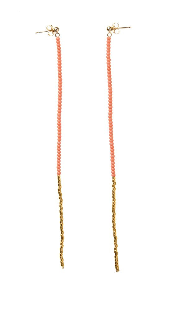 Long Drop Earrings - Salmon/Gold