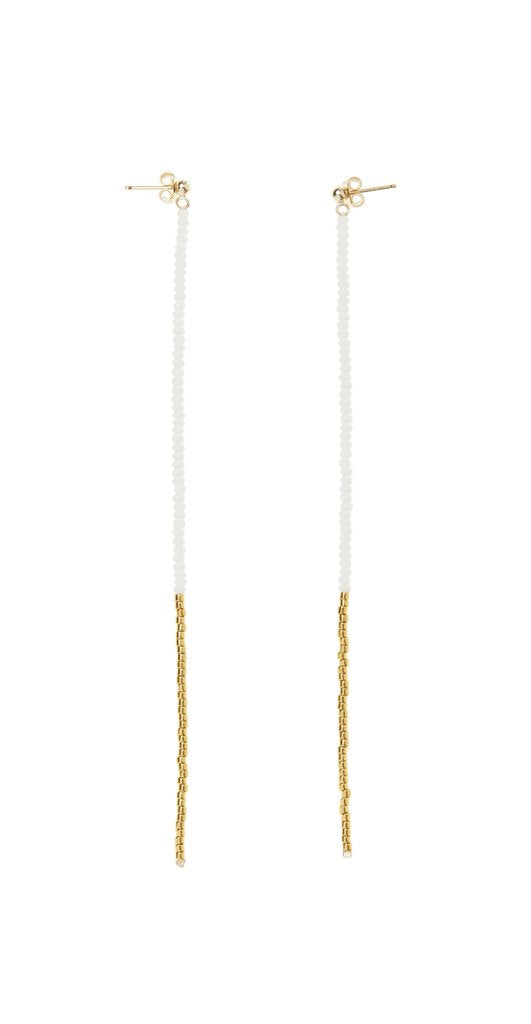 Long Drop Earrings - White/Gold