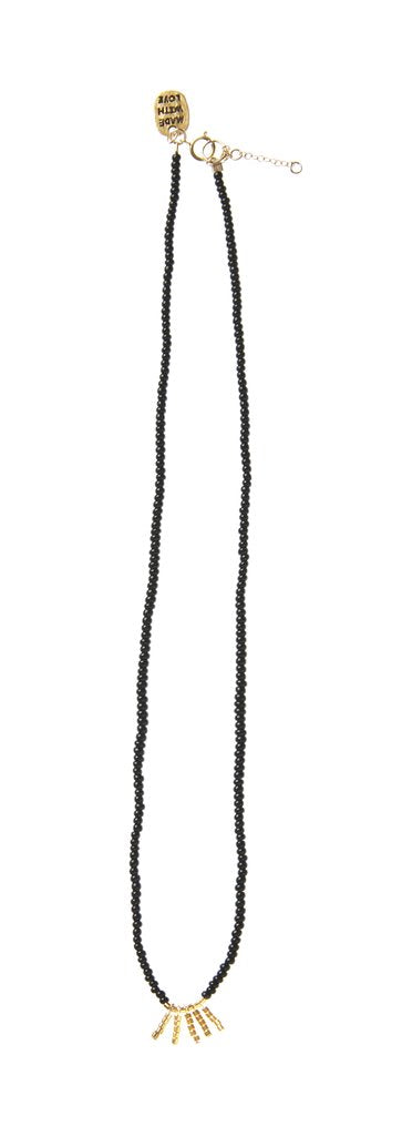 5 Bar Kisongo Necklace - Black