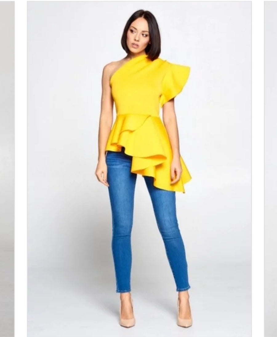 Harriet One Shoulder Top (Yellow)