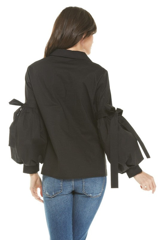 Bella Black Flared Sleeve Blouse