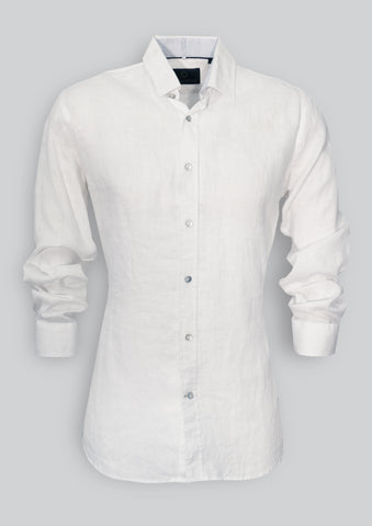 Blake Shirt in White Linen