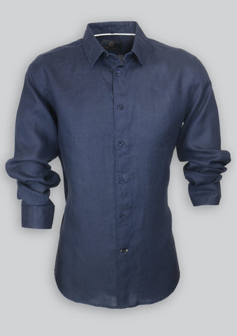 Blake Shirt in Navy Linen