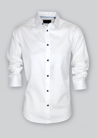 Blaine White Cotton Sateen Shirt