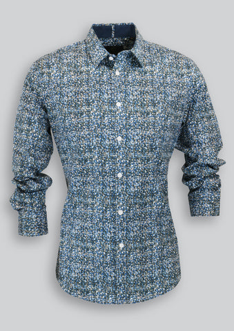 Nigel Shirt in Blue Smudge