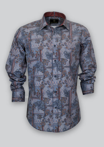 Blake Shirt with Denim Print