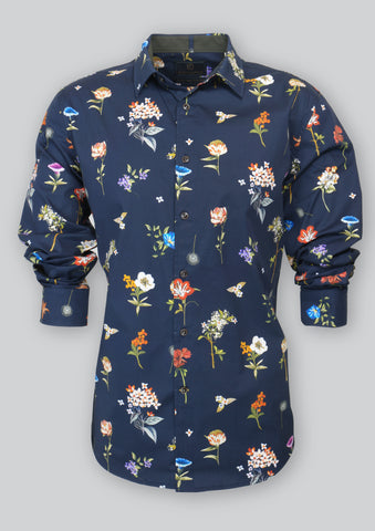 Nigel Navy Flower Shirt