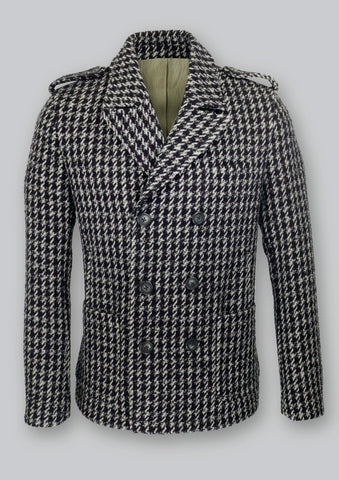 Men's hip length, double breasted houndstooth coat in Italian wool fabric. Front patch pockets and full lining