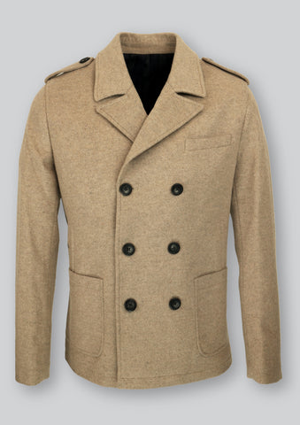 Men's hip length, double breasted camel coat in Italian wool fabric. Front patch pockets and full lining