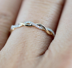 Rose Gold Thin Intertwining Ring