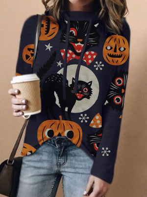 Women's Halloween Animal Cat Pumpkin Print Casual Long Sleeve T-shirt