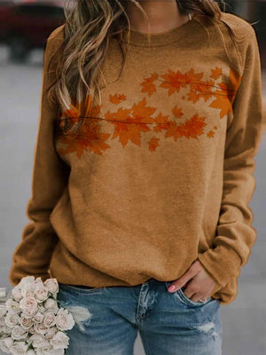 Maple leaf printed crew neck casual sweatshirt