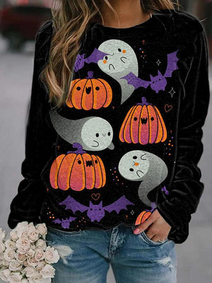 Loose crew neck Halloween print sweatshirt